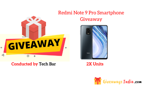 Redmi Note 9 Pro Smartphone Giveaway