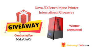 Nova 3D Bene4 Mono Printer International Giveaway
