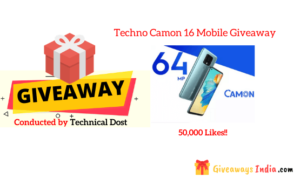 Techno Camon 16 Mobile Giveaway