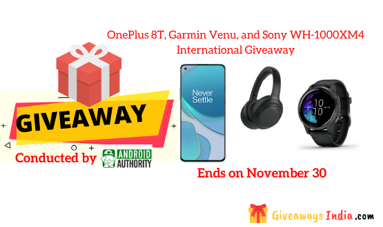 OnePlus 8T, Garmin Venu, and Sony WH-1000XM4 International Giveaway