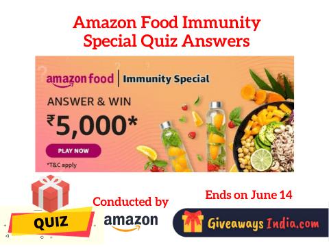 Amazon Food Immunity Special Quiz Answers