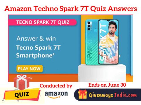 Amazon Tecno Spark 7T Quiz Answers