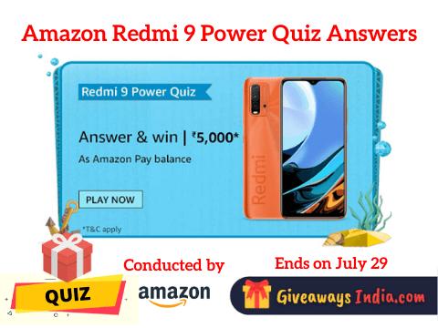 Amazon Redmi 9 Power Quiz Answers