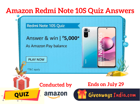 Amazon Redmi Note 10S Quiz Answers