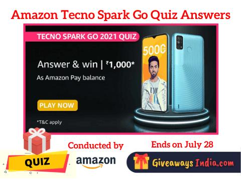 Amazon Tecno Spark Go Quiz Answers