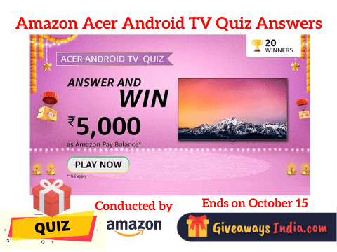 Amazon Acer Android TV Quiz Answers